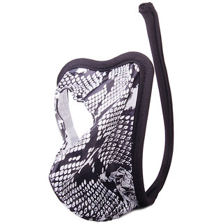 Men Heart-shaped C-string Snake Skin Pattern Thong Underwear Black