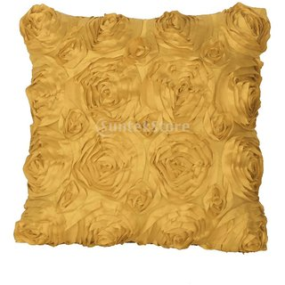 42cm Pillow Case Cushion Cover Satin Flower Throw Home Sofa Car Decor Golden