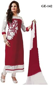 ZOYA COLLECTIONS Maroon Embroderied Semi Stiched Dress Material