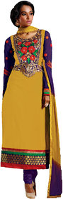 ZOYA COLLECTIONS Women Yellow Semi Stich Dress Material (Unstitched)