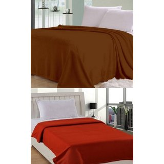 Shopgalore Combo of Plain Single and Double Bed Blanket(CSDB-21)