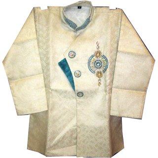 Aryan Garments Party Wear Cotton Blue White Baby Sherwani
