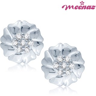 Meenaz Sweetheart Love Rhodium Plated CZ Earings T106