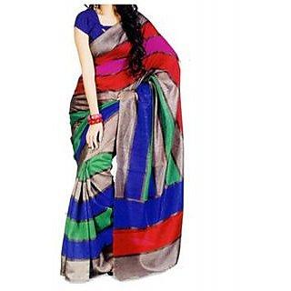 SuratTex Multicolor Bhagalpuri Silk Printed Saree With Blouse