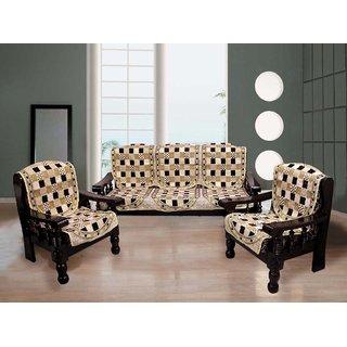 Fk Cream Brown Checkered Velvet Sofa Cover