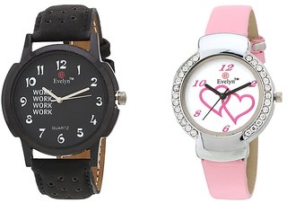 Evelyn Analog Leather Combo Watches for Lovely Couple - EVE-284-307
