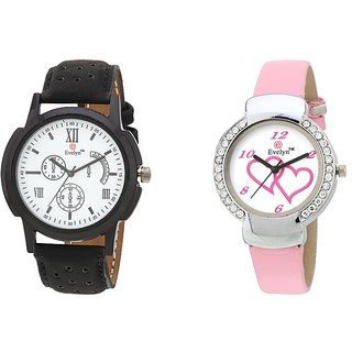 Evelyn Analog Leather Combo Watches for Lovely Couple - EVE-281-307