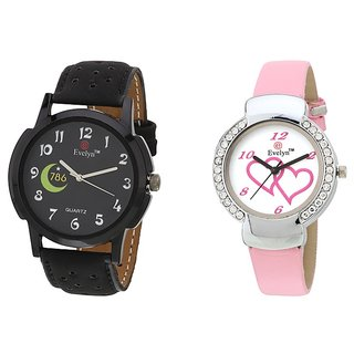 Evelyn Analog Leather Combo Watches for Lovely Couple - EVE-288-307