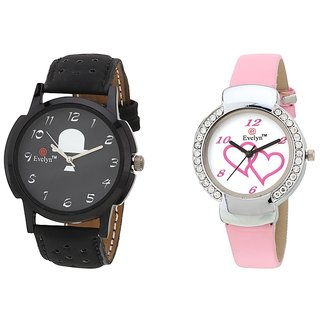 Evelyn Analog Leather Combo Watches for Lovely Couple - EVE-290-307