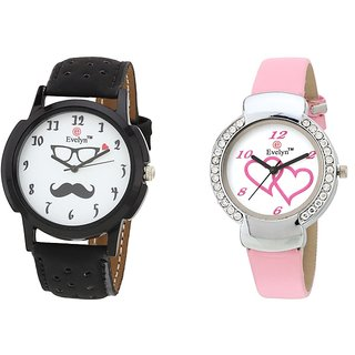 Evelyn Analog Leather Combo Watches for Lovely Couple - EVE-298-307