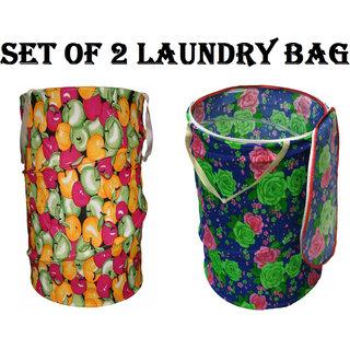 Set of 2 Multicolor Attractive Round Shape Foldable Laundry Bag - ST2CNJHU