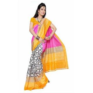 Sukuma Purple & Yellow Silk Printed Saree With Blouse