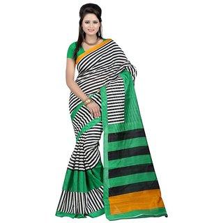 Sukuma Green & Black Silk Striped Saree With Blouse