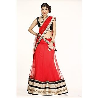 Designer carrot colour lehenga