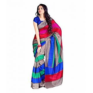 Sukuma Multicolor Bhagalpuri Silk Printed Saree With Blouse