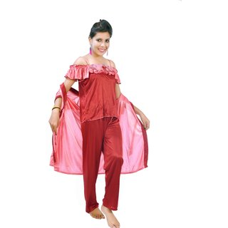27f41ddb8ebba Buy Fashion Zilla Maroon Dark Pink Satin Shoulderless Night Suit Set ...
