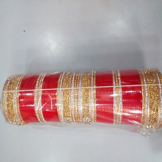 Traditional Bridal Chura with red and golden colour