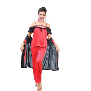 Fashion Zilla Red  Black Satin Shoulderless Night Suit Set