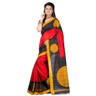 Sukuma Red & Yellow Silk Checks Saree With Blouse