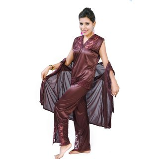 5a82777f0ee5b Fashion Zilla Chocolate Satin Shoulderless Top Payjama With Short Gown Set