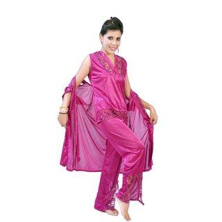 8b8c2bf98ac2a Fashion Zilla Marjenta Satin Shoulderless Top Payjama With Short Gown Set