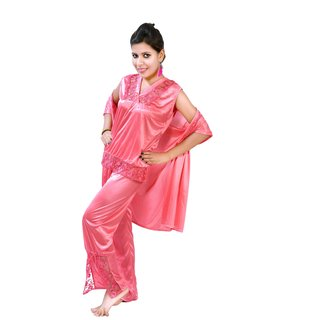 03f597cc204af Fashion Zilla Pink Satin Shoulderless Top Payjama With Short Gown Set