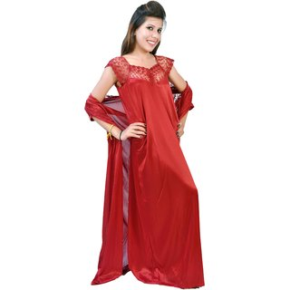Fashion Zilla Maroon Satin Sleeveless Topn Netted Nighty With Gown