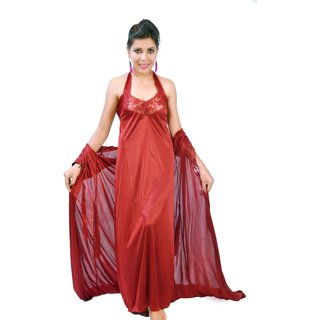 Fashion Zilla Maroon Halter Neck Backless Nighty With Gown