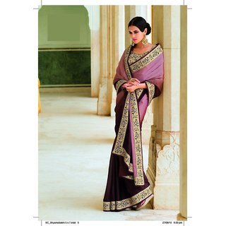 Laxmipati Brown Satin Embroidered Saree With Blouse