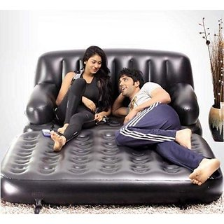 5 In 1 Air Leatherette Sofa Cum Bed with Pump - Best Quality Product Black