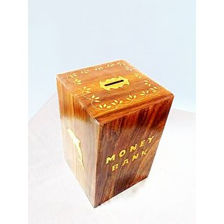 Wooden Money Bank With Lock