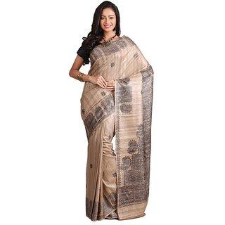 Silk Only 45 Single Colour Madhubani Silk Saree