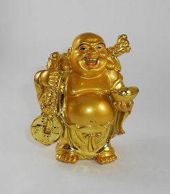Standing Golden Laughing Buddha With Gold Ingot
