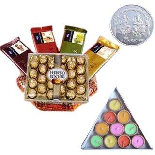 Sensational Chocolate Basket Silver Plated Ganesh Laxmi Coin Diyas