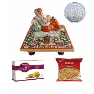 Welcoming Ganesh Chowki Elegant Coin Foodies