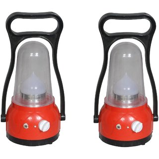 Kaka Ji moon light classic lantern red set of 2 rechargeable emergency light