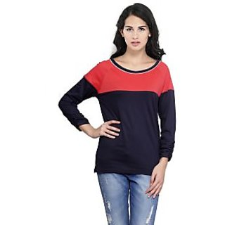 Espresso Womens Panel Top with Gathering at Sleeve -NAVY/RED