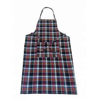 Valtellina Maroon and black Checked  Apron(AP-004)