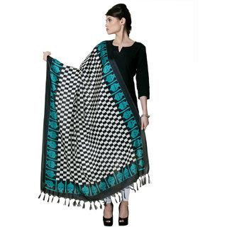 Riti Riwaz Black  Blue Designer Bhagalpuri Silk Dupatta BG031