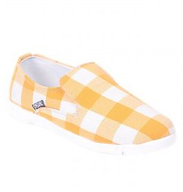 ADDIOS Yellow/White Check Casual Shoe