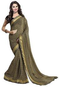 Ishin Black & Brown Silk Self Design Saree With Blouse