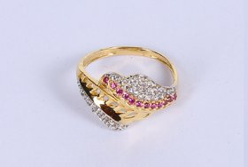 Gold Ring in 18 Karat for Women Studded with Cz at Whole Sales Price