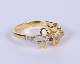 Gold Ring in 18 Karat for Women Studded With Cz at Whole Sale Price