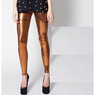 Copper Spandex Wet Look Liquid Legging Hi Fashion Footless Tights Slacks Shinny