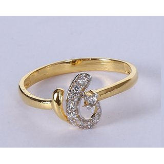 Gold Ring in 18 karat For Women Studded With Cz at Wholesale Price