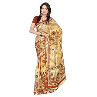Kajal Sarees Maroon Chiffon Printed Saree With Blouse