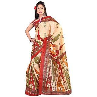 Kajal Sarees Beige Chiffon Printed Saree With Blouse