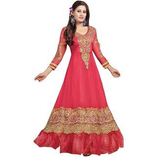 Sukuma Red Lace Georgette Anarkali Suit Material
