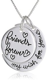 Antique Silver Polished moon shaped engraved with My wish for you, frnd forever