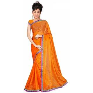 Sukuma Orange Viscose Lace Saree With Blouse